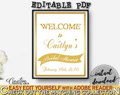 Gold Frame Bridal Shower Bridal Shower Welcome Sign Editable in Gold And White, welcome guests, white gold bridal, printable files - G2ZNX #bridalshower #bride-to-be #bridetobe