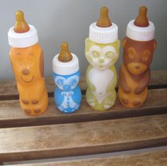 Gerber Nursers: I remember using these for my dolls. I had the blue owl and bear. As a mom I cringe to think of the muck that could collect inside the bottle's grooves.