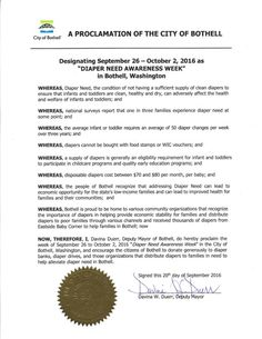 BOTHELL, WA-Mayoral proclamation recognizing Diaper Need Awareness Week (Sep. 26-Oct. 2, 2016) #DiaperNeed Diaperneed.org