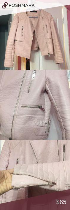 Zara faux leather jacket Wish I could still fit in this one! It's warm. It's baby pink and it's bad ass Zara Jackets & Coats