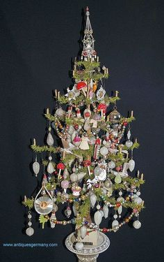 Antique German Goose Feather Tree, ca. 1900-1910, decorated with great old ornaments.