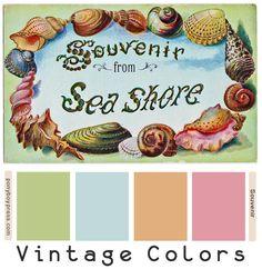 Vintage Color Palettes - Souvenir from Sea Shore. Hex colors on blog. PonyBoy Press