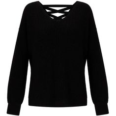 Miss Selfridge Black Lattice Back Knitted Jumper ($61) ❤ liked on Polyvore featuring tops, sweaters, black, jumper top, miss selfridge, jumpers sweaters, acrylic sweater and miss selfridge tops