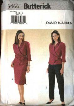 Butterick Sewing Pattern 3466 Misses Size 18-22 Easy David Warren Wrap Front Top Skirt Pants Suit
