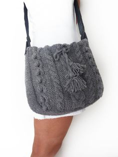grey messenger Bag with adjustable long strap hand by Sudrishta, $80.00