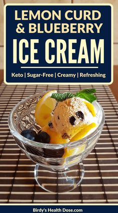 For hot summer days, here is a special dessert, refreshing, with a creamy texture, and a pleasant aroma, a keto, sugar-free lemon curd, and blueberries ice cream.