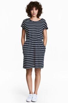 Dżersejowa sukienka - Ciemnoniebieski/Paski - ONA | H&M PL