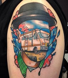 When we stare at this Walter White tattoo we feel like we may have been sampling Heisenberg's wares. Artist Gooney Toons #InkedMagazine #tattoo #BreakingBad #tattoo #art #Inked #PopCulture
