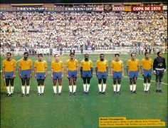 Brazil team line up at the 1970 World Cup Finals.