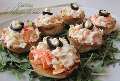 Cestitas de delicias de mar