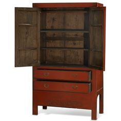 Elmwood Ming Armoire In Distressed Red