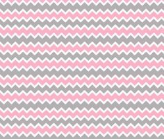 pink grey gray chevron zigzag pattern fabric by decamp_studios on Spoonflower - custom fabric