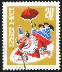 ROMANIA - CIRCA 1969: stamp printed by Romania, shows circus clown with…
