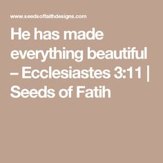 He has made everything beautiful – Ecclesiastes 3:11   Seeds of Fatih