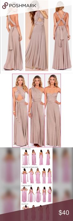 """TRICKS OF THE TRADE DRESS Taupe """"tricks of the trade"""" dress, can be wrapped multiple ways to create a completely new look! I've only worn it once as the maid of honor in my best friends wedding. Would fit either an XS or S. Lulu's Dresses Maxi"""