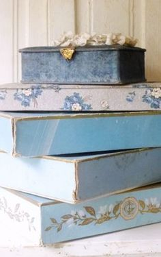 whisperofvintage Blue & White Tin Boxes