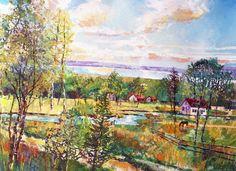 Village at Huron Lake - Art by Valentine Ioppe,  Канада.