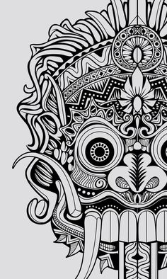 barong mask drawing - Google Search