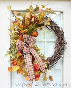 """It's finally fall! I'm sharing two fall wreaths that are on two of my exterior doors. Today is wreath day for the """"Fall Ideas Tour"""". Visit…"""
