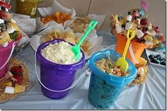 3 food in pails. Luau party