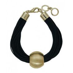 Brushed Gold Plated Leather Bracelet