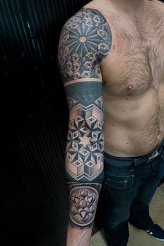 Geometric Sleeve Tattoo Thomas Hooper-8