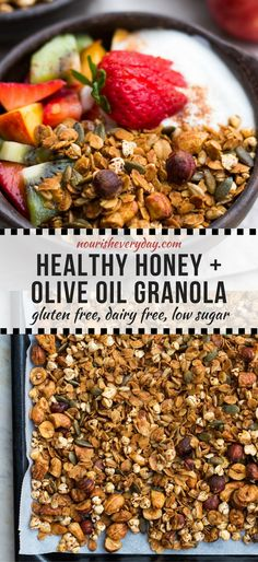 Crisp honey olive oil granola made with simple pantry ingredients. All natural, low sugar, plus it's gluten free and dairy free! An easy healthy breakfast.