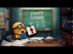 Despicable Me 2 Mini Movie: Puppy Minions Mini Movie, Minion Gif, Despicable Minions, Puppy School, Geek Humor, I Love To Laugh, Twisted Humor, Movies Showing, Nerdy