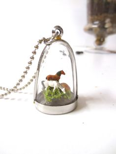 In Peaceful Pastures.....Horse Pendant Necklace by FaerieNest,
