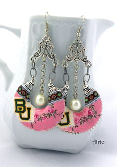 BAYLOR UNIVERSITY Antique Azulejo Tile and FRESCO Replica Chandelier Earrings - Bohemian Tribal Gypsy Boho Hippie - Officially Licensed