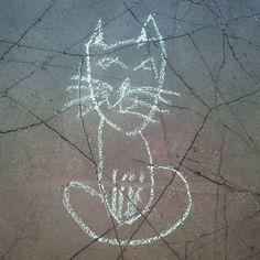 #асфальтноеискусство_нвкз#весна#котейка#наскальнаяживопись#уличноеискусство#май2016#nvkz#streetart#cat#may2016#chat#artdelarue#mai2016 by lapine_ensoleillee