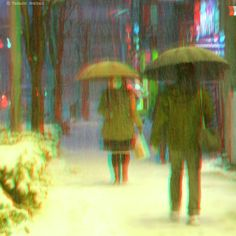 IMAGINATION - Way to home in snow 3d Photo, View Photos, Red And Blue, Imagination, 3 D, Snow, Photography, Painting, Image