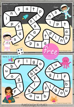 Beginning Sounds Board Games - Playdough To Plato Jolly Phonics Activities, Phonics Games, Kindergarten Literacy, Alphabet Activities, Abc Games, Preschool Learning, Literacy Activities, Preschool Activities, Literacy Centers