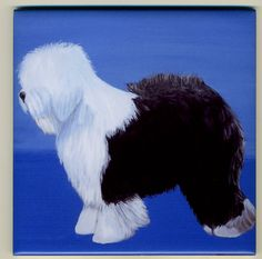 Old English Sheepdog Art Tile By Sharon Nummer by caninepainter, $20.00