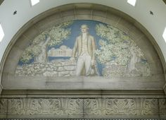 Mural of Thomas Jefferson with his residence, Monticello, in the background, by Ezra Winter.  South Reading Room, John Adams Building, Library of Congress, Washington, D.C. Photo 2007 by Carol M. Highsmith.