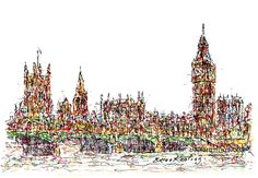 Westminster London - Drawing,  15x9  ©2017 by Brian Keating -                                                                                                Impressionism, Paper, Architecture, Cities, Cityscape, Places, london, england, uk, big ben drawings, london drawings, westminster drawings
