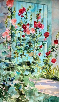 Summertime Hollyhocks by Dyan Newton Watercolor ~ 22 x 15