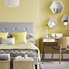 Chic yellow and grey bedroom. | Bedroom | Pinterest | Gray bedroom ...