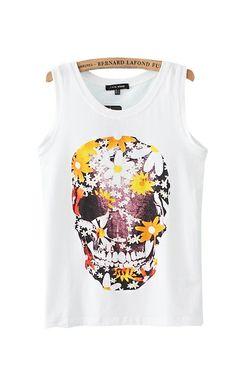 Skull Printing White O-neck Vest