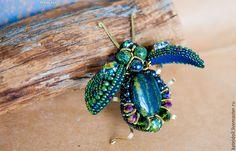 Купить Сверкающие броши Жуки - комбинированный, синий, зеленый, фиолетовый, коричневый, бежевый, сине-зеленый