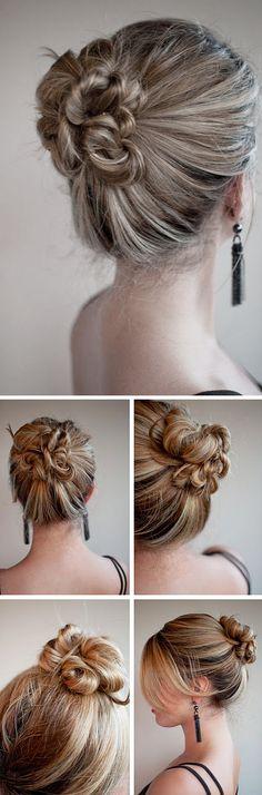 high twist & pin bun hairstyle