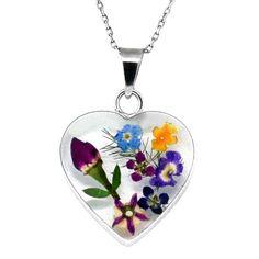 sterling silver pressed flower heart pendant