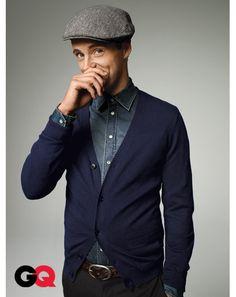 Matthew Goode poses in fall fashions for GQ magazine 1 Socialite Life Matthew Goode, Navy Blue Cardigan, Gq Magazine, Denim Fashion, Unisex Fashion, Beautiful Men, Beautiful People, Gorgeous Guys, Black Men