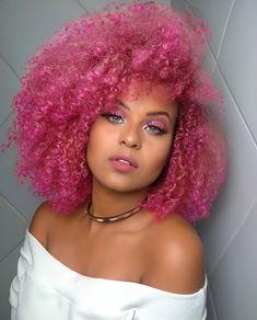 Peach Hair Dye, Peach Hair Colors, Pink Ombre Hair, Hair Color Pink, Hair Dye Colors, Dye My Hair, Curly Afro Hair, Curly Hair Styles, Pink And Black Hair