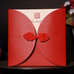 Creative red Chinese wedding invitations wedding invitations personalized custom photo invitations Chinese knot Pankou US $1.81