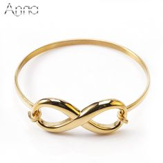 f1168774097 A&N Stainless Steel Infinite Loop Charm Bangles Bracelets For Women Gold &  Silver Plated High Quality
