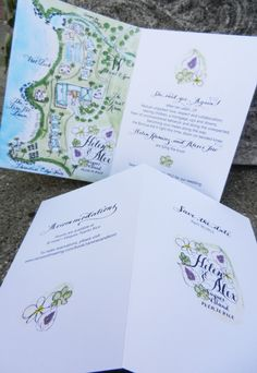 Save the Date or Wedding Invitation Watercolor and Calligraphy Map Booklet design and prints. $5.50, via Etsy. Dates, Weddings, Paper, Wedding Invitations, Zazzi Idea, Map Invite Wedding
