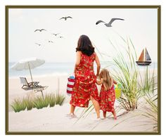 A Day at the Beach by terry-tlc on Polyvore featuring art, beach and mother