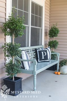 painted porch bench - Miss Mustard Seed Front Porch Seating, House Front Porch, Small Front Porches, Front Stoop, Front Entry, Front Doors, Front Porch Furniture, Outdoor Furniture, Garden Furniture
