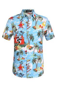 489dd57ab SSLR Men's Summer Christmas Holiday Party Hawaiian Shirt #summer #christmas  #holiday #hawaiian